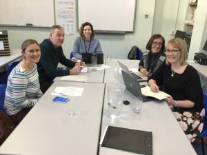 Alina Schartner, Tony Young and Sara Ganassin (ECLS); Sarah Mercer (Universitaet Graz); Nicola Brooks (Action Foundation) at the steering group meeting